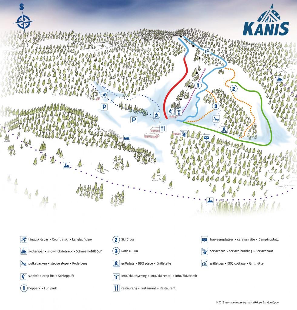 Karta över backens nedfarter och skidspår